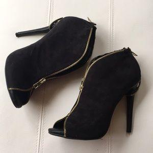 Like new  Black suede gold zipper peep toe pumps